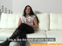FakeAgent Horny brunette amateur takes facial in casting