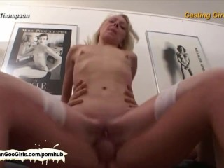 Skinny blonde babe gets fucked in the ass and punani