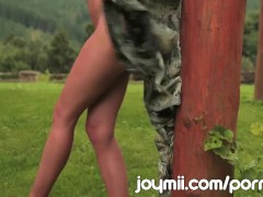 Joymii Eufrat Strips And Masturbates With Dildo Outdoors Beside Log Cabin