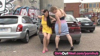 Girls Out West - Busty lesbians at the car park Blonde girl