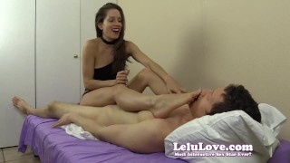 Lelu Love-Feet On Face Handjob  homemade foot femdom amateur cfnm cumshot fetish domination hardcore handjob feet lelu soles clothed choker lelu love