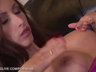 Big Dicks Fucking And Cumming Brunette MILF dildoing ass while watching porn