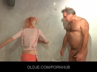 Busty blonde blackmailed into giving head