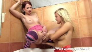 Bella Baby soaks her girlfriend in hot piss