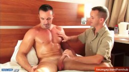 Full video: a mature athletic guy serviced by our assistant in spite of him