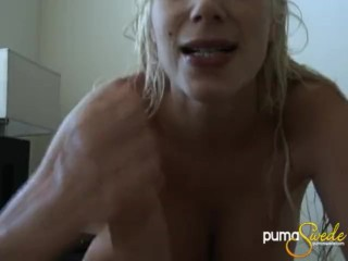 Puma swede sits up all the cock she just had blowing