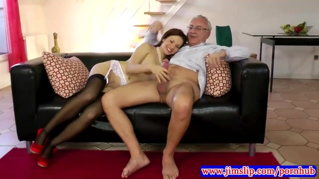 Erotic slips and stockings - Teen amateur in stockings fucked in her tight pussy by old man