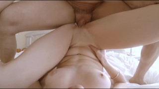 POV Blonde's sexy lingerie taken off as she gets fucked