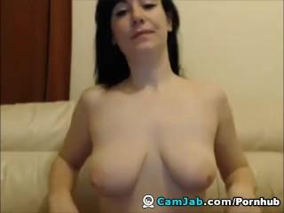 Huge Tits Babe Slides ehr Dildo Deep