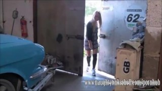 Cute blonde gets a full hardcore pussy service at her local garage porno