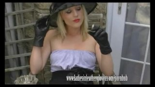 In glove her smokes filthy axajay leather fetish blonde smoking nylon