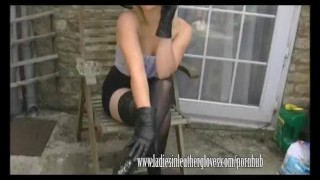 Filthy blonde Axajay smokes in her leather glove fetish Girl masturbation
