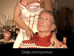 : Old men double penetrates young pervert nurse