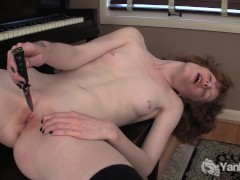 Goth Girl Staci Masturbating Her Pussy With Knife