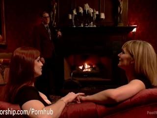 Hot maids give their boss a 4-foot footjob