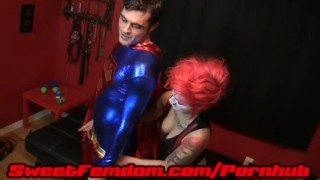 Harley Fucks Superman cosplay pegging femdom superhero kink kinky strapon female domination anal harley quinn supervillainess superman sweetfemdom