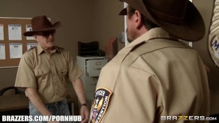 Simone double teamed by cops - Brazzers