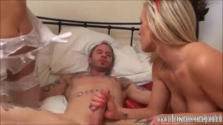 Blonde slut Rebecca More fucked hard and eating lesbian pussy