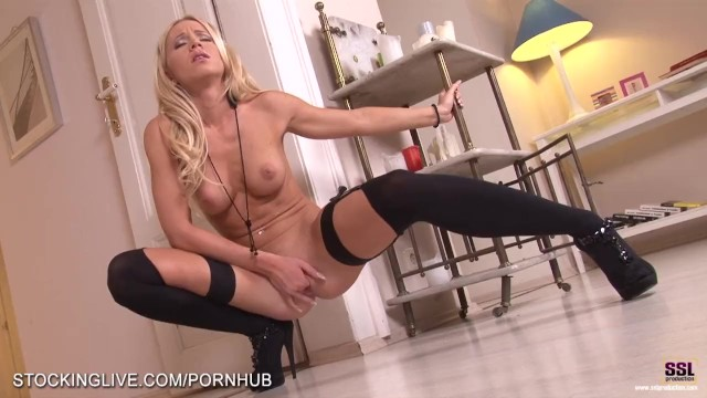 Blondes lingerie model stockings Perfect bodied blonde performing a mind blowing foot fetish masturbation