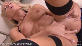 Perfect bodied blonde performing a mind blowing foot fetish masturbation  stockinglive.com long legs high heels lingerie teasing masturbate blonde hungarian young strip foot fetish feet european fingering stockings beauty