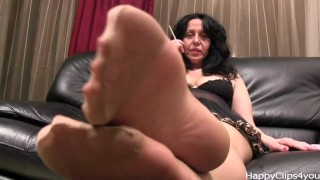 Dangling alisa heels high and stockings smoking nylon moms