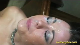 Gets whore horny cute cum of tons facial group