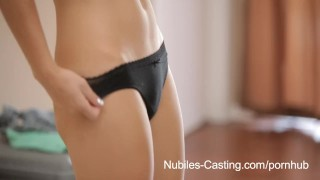Screen Capture of Video Titled: Nubiles Casting - Cute blonde gets her first shot at porn