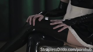 Rossy Kiss-Cleans Mia's Latex Clad Pussy pussy eating girl on girl lesbians raven sexy straplessdildo.com kinky office latex strap on cunnilingus sex toy skinny maid high heels adult toys