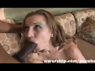 redhead milf sucks and rides a big black cock for interracial sex fun