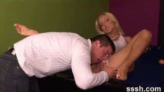 Erotica For Women - Sexy Couple Hot Foreplay On the Family Room Pool Table