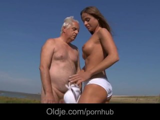 Sex With The Lifeguard Big Boobs Teeny Fucks An Oldman On The Beach