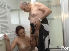 Rehead fucks her boyfriend then his dad