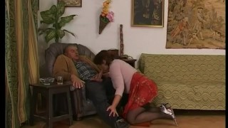 Mature euro brunette sucking and fucking Striptease tight