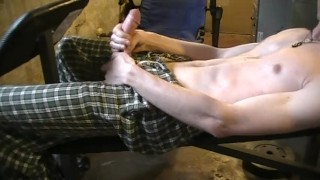 shaved man masturbating after work out.