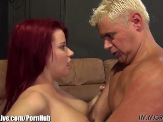 ImmoralLive REDHEAD BABE with BIG BOOBS fucked for good here!