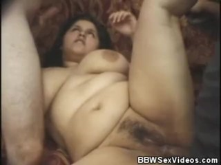 Sandwiched BBW Gets A Cum Splattering