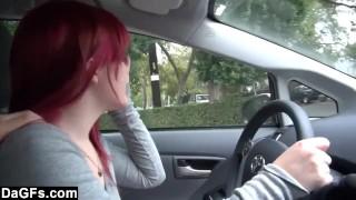 Flashing tits public hot in her car masturbating