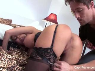 Capri cavanni seduces a man in a cheesy motel room