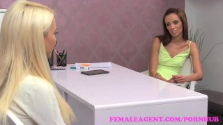Preview 3 of FemaleAgent. Seriously sexy shy blonde creates hot casting video