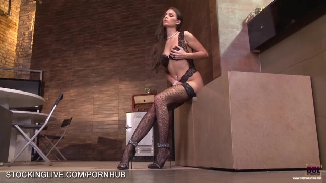 Bullock free nude sandra - Beautiful natural brunette in lace stockings