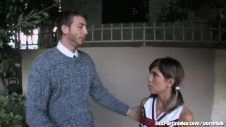 Asian cheerleader teacher tight pussy rocked gets by big cock
