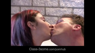 Blonde and redhead sharing on the coach Sex fucking