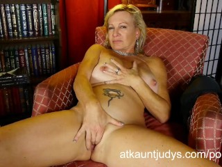 Big tit blonde mommy Nicole interviews with R. Field then masturbates