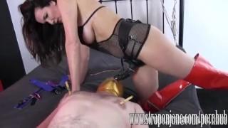 Submissive gimp fucked hard by FemDom Strapon Jane sex-toy strap-on femdom handjob milf submissive cumshot slave brunette orgasm straponjane-com humiliation throatfuck adult-toys clamp mask