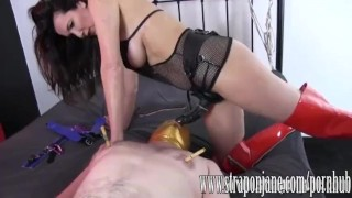 Submissive gimp fucked hard by FemDom Strapon Jane  strap on ass fuck big tits slave humiliation femdom cumshot handjob milf brunette mask orgasm throatfuck adult toys sex toy straponjane.com clamp submissive