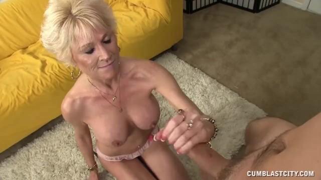Granny hand job videos Topless granny splattered with cum