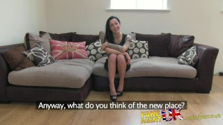 FakeAgentUK Second fake interview for sexy tattooed brit chick Busty shemale