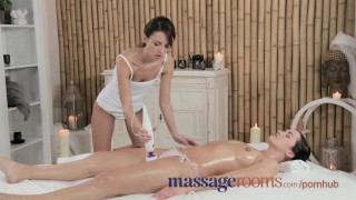 Preview 4 of Massage Rooms Firm young girl shares plump butt and vibrator with masseuse