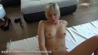 Schnuggie91 - German blonde GF shows Easter surprise! Couch babe