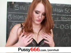 Red head babe Denisa Heaven pussy spreading close ups